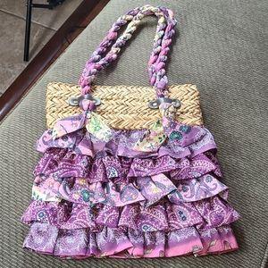 Purple Ruffled Handbag NWOT